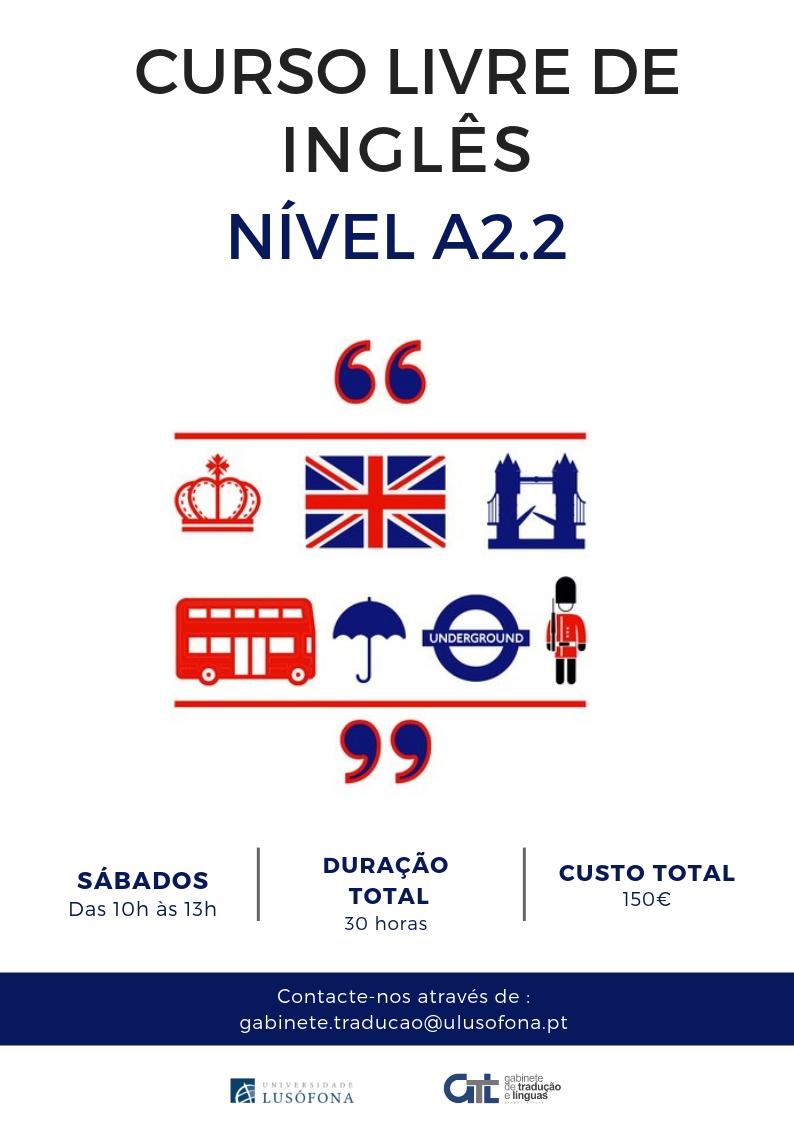Inscrições Abertas- Curso Livre de Inglês nível A2.2